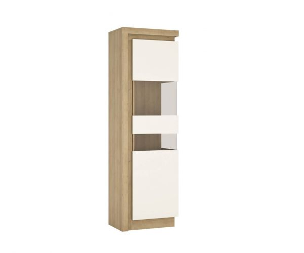 FTG Lyon Riviera Oak and White High Gloss Tall Narrow Display Cabinet (RHD)