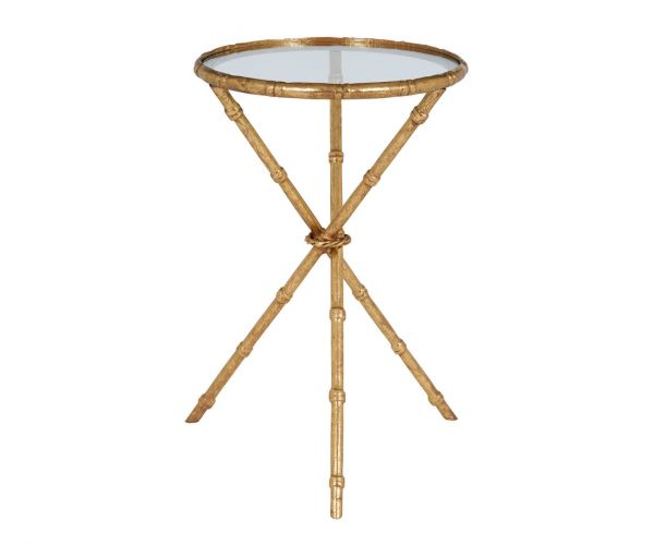 Serene Furnishings Madras Clear Glass and Gold Lamp Table