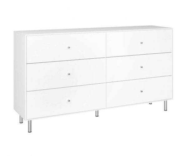 Steens Maga White 3+3 Wide Drawer Chest