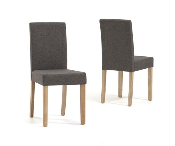 Mark Harris Maiya Brown Weave Fabric Dining Chair in Pair