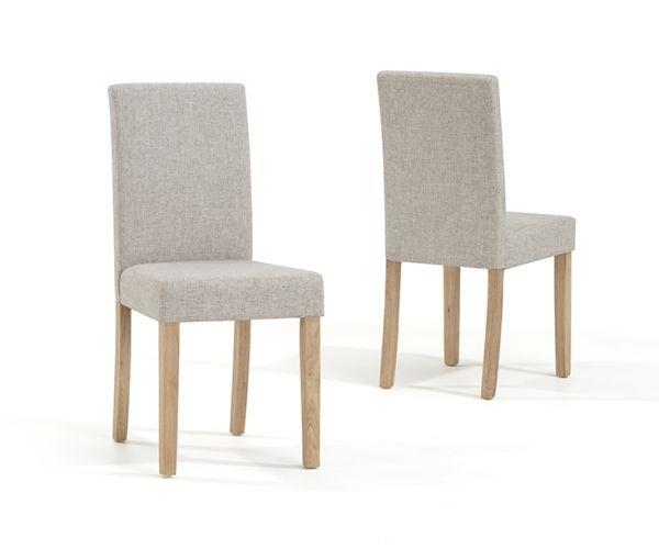 Mark Harris Maiya Cream Weave Fabric Dining Chair in Pair