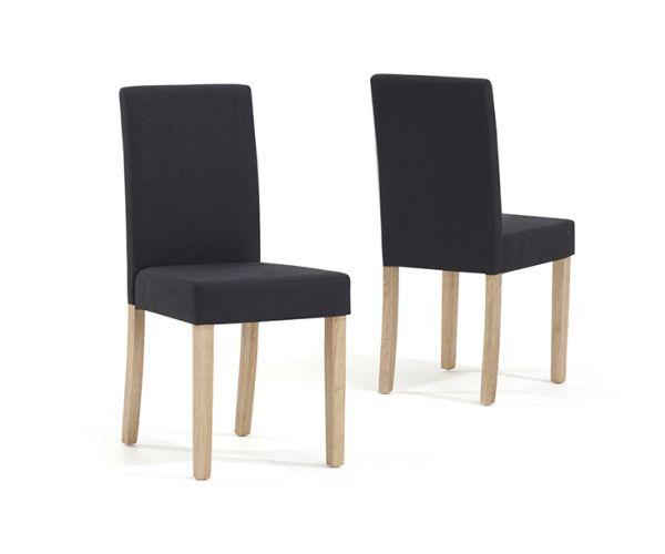 Mark Harris Maiya Black and Dark Grey Weave Fabric Dining Chair in Pair