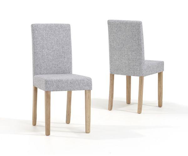 Mark Harris Maiya Grey Weave Fabric Dining Chair in Pair