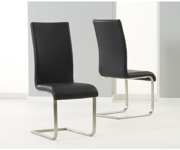 Mark Harris Malibu Black PU Leather Dining Chair in Pair