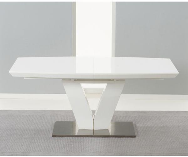 Mark Harris Malibu Extending White High Gloss Dining Table Only