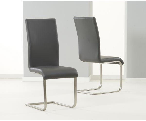 Mark Harris Malibu Grey PU Leather Dining Chair in Pair