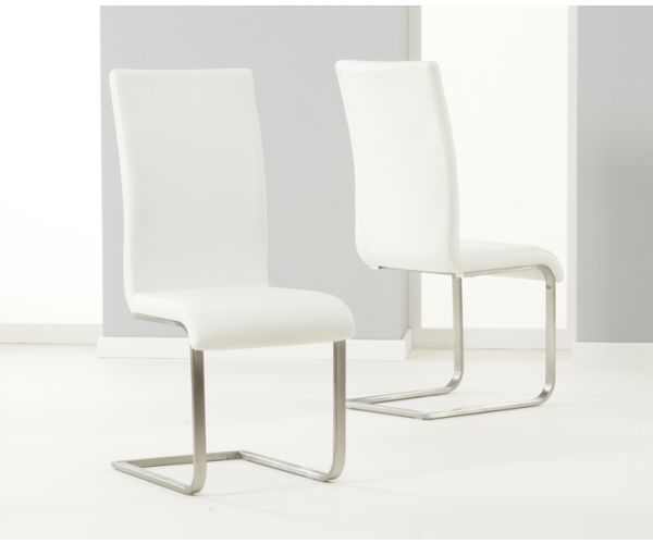Mark Harris Malibu Ivory PU Leather Dining Chair in Pair