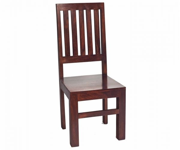 Indian Hub Toko Dark Mango Slat Back Dining Chair in Pair