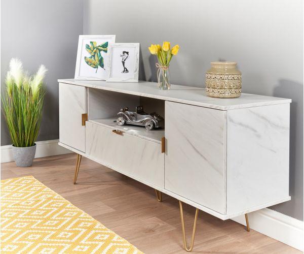 Welcome Furniture Hong Kong Marble 2 Door 1 Drawer Wide TV Unit