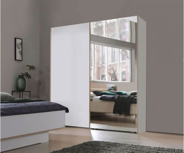 Rauch Marcella Alpine White 2 Sliding Door 1 Mirror Wardrobe