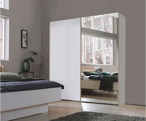 Rauch Marcella Alpine White 2 Sliding Door 1 Mirror Wardrobe (W251cm)