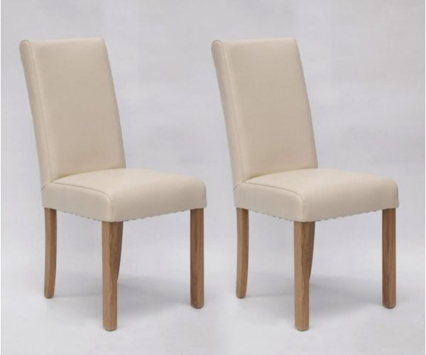Homestyle GB Marianna Cream Bycast Leather Dining Chair in Pair