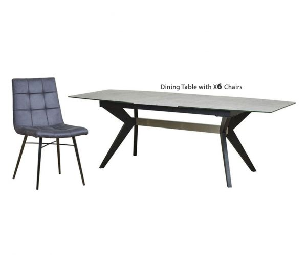 Mark Webster Soho Concrete Effect Rectangular Extending Dining Set with 6 Grey Faux Leather Chairs