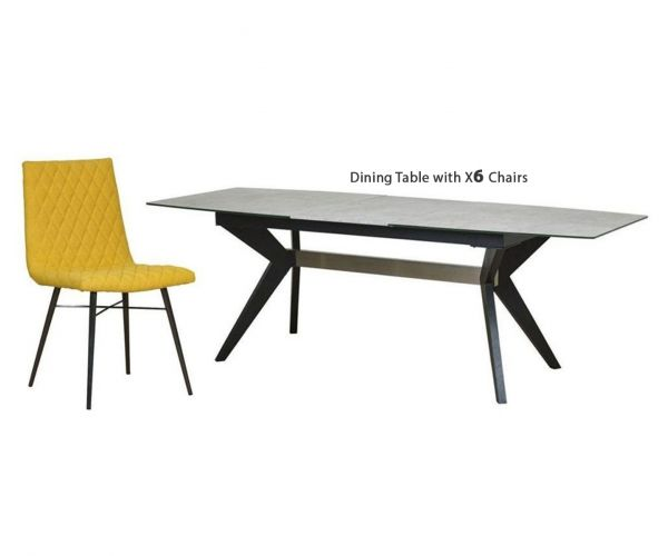 Mark Webster Soho Concrete Effect Rectangular Extending Dining Set with 6 Yellow Fabric Chairs