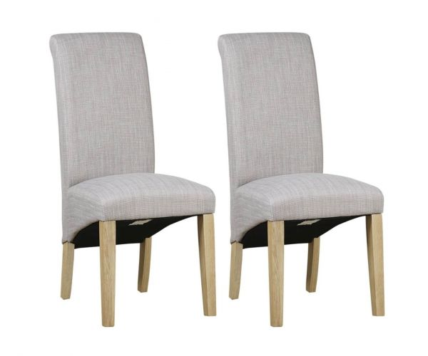 Mark Webster Darcy Scroll Back Grey Linen Fabric Dining Chair in Pair