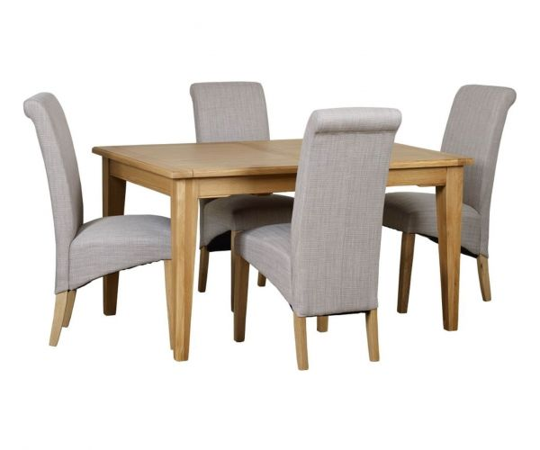 Mark Webster Westport Small Rectangular Extending Dining Set with 4 Darcy Scroll Back Dining Chairs
