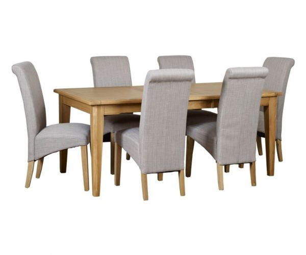 Mark Webster Westport Small Rectangular Extending Dining Set with 6 Darcy Scroll Back Dining Chairs