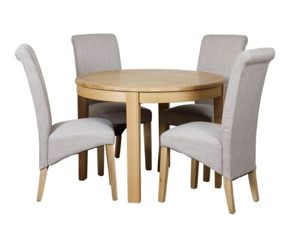 Mark Webster Westport Round Extending Dining Set with 4 Darcy Scroll Back Dining Chairs