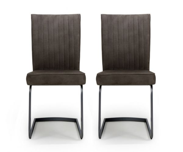 Shankar Marlin Cantilever Brown Dining Chair in Pair