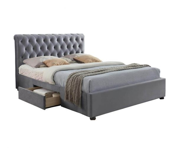 Birlea Furniture Marlow Grey Velvet Fabric Storage Bed Frame