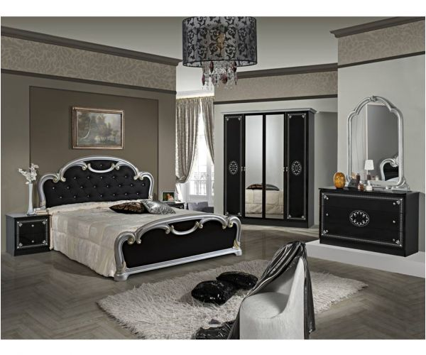 Dima Mobili Martina Black and Silver Bedroom Set with 4 Door Wardrobe and Upholstered Bed Frame