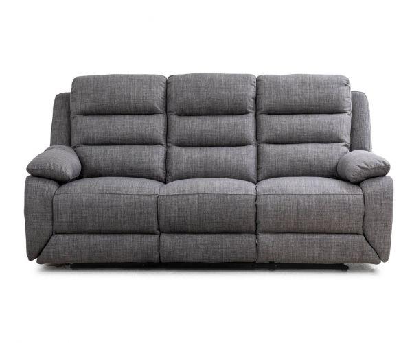 Sweet Dreams Naples Charcoal Fabric Manual Recliner 3 Seater Sofa