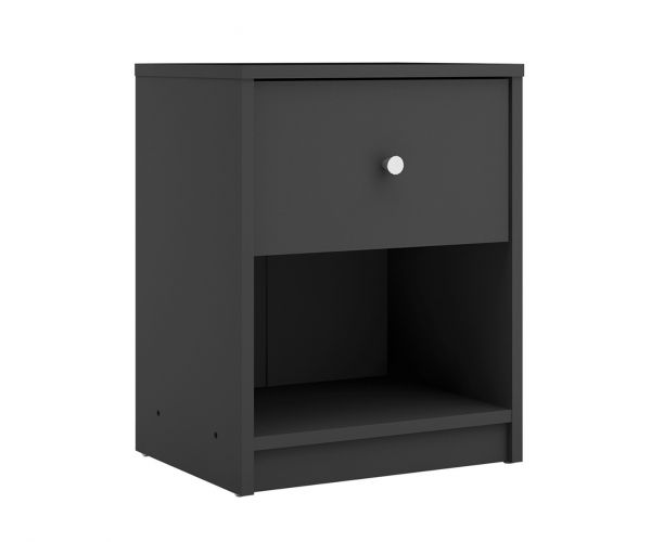 FTG May Black 1 Drawer Bedside Cabinet
