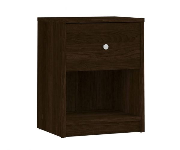 FTG May Dark Walnut 1 Drawer Bedside Cabinet