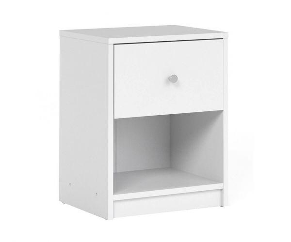 FTG May White 1 Drawer Bedside Cabinet