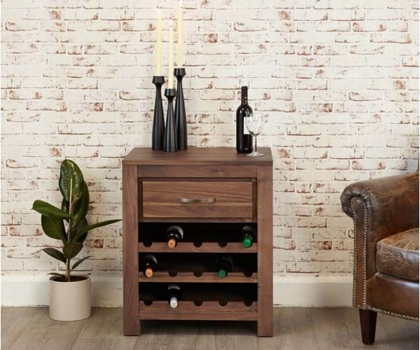 Baumhaus Mayan Walnut Wine Rack Lamp Table
