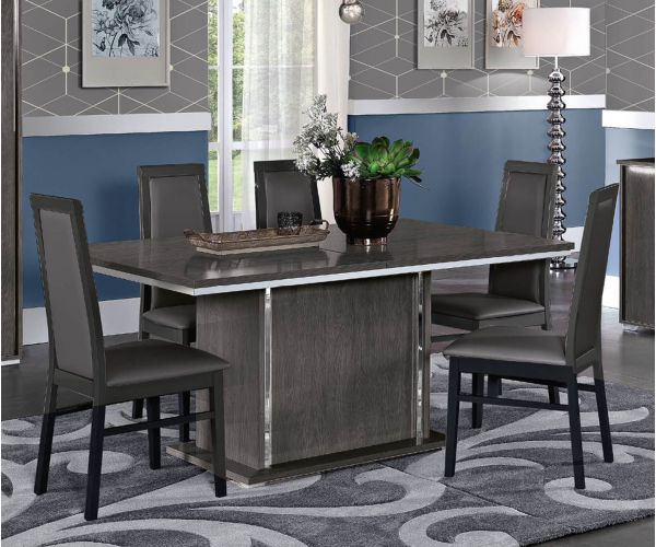 MCS Dover Grey Finish Fixed Top Dining Table