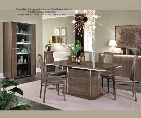MCS Dover Brown Finish Dining Room Set with Display Cabinet