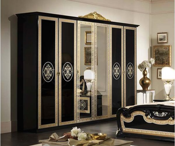 MCS Natalie Black Finish Italian 6 Door Wardrobe