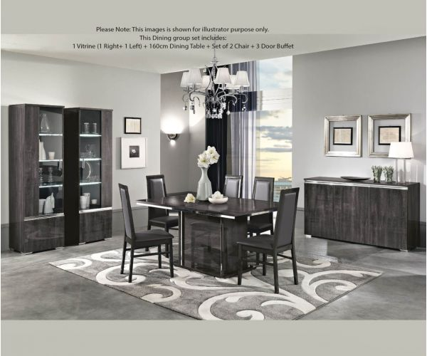 MCS Oxford Grey Finish Dining Room Set with 3 Door Sideboard