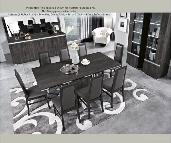 MCS Oxford Grey Finish Dining Room Set with 4 Door Sideboard