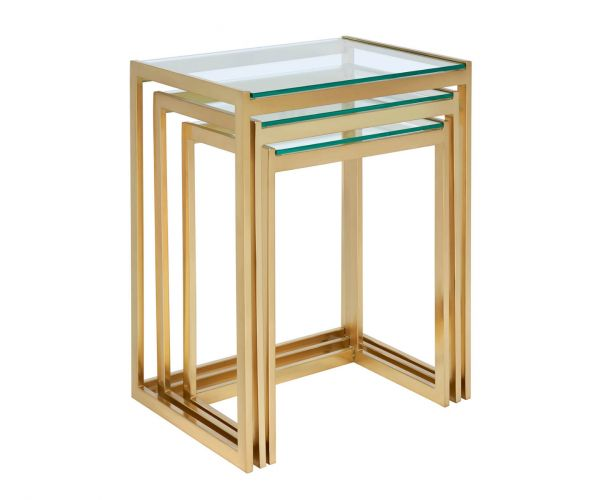 Serene Furnishings Meerut Clear Glass and Gold Nest of Tables