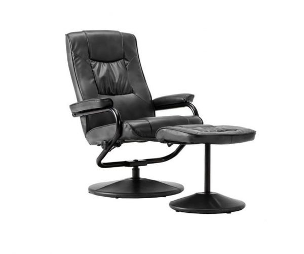 Birlea Furniture Memphis Black Faux Leather Swivel Chair and Footstool