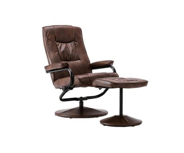 Birlea Furniture Memphis Tan Faux Leather Swivel Chair and Footstool