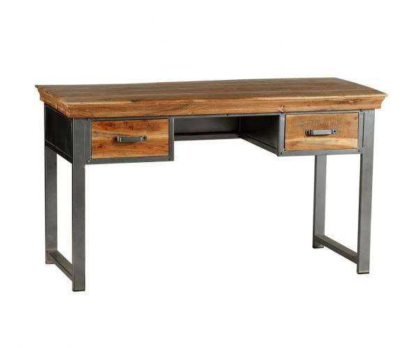 Indian Hub Metropolis Industrial 2 Drawer Writing Desk