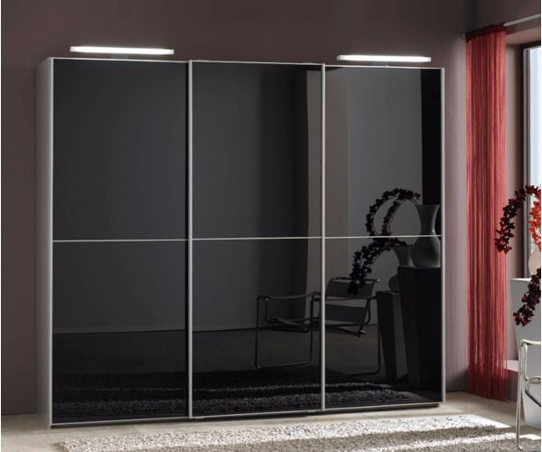 Wiemann Miami Black Glass Sliding Door Wardrobe-H217cm