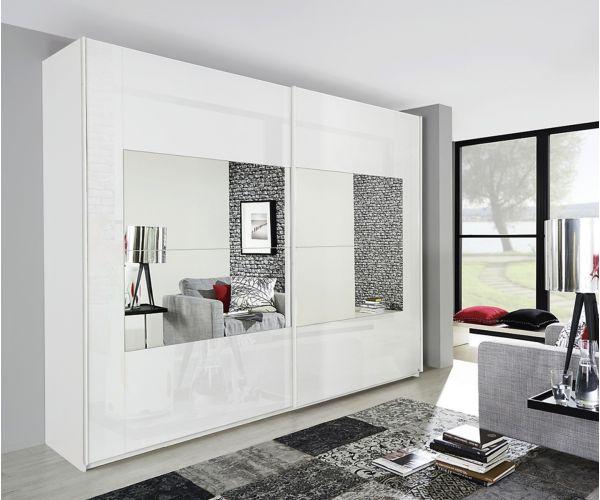 Rauch Miramar Alpine White Carcase with Crystal White Glass 2 Sliding Middle Mirror Door Wardrobe(W271cm)