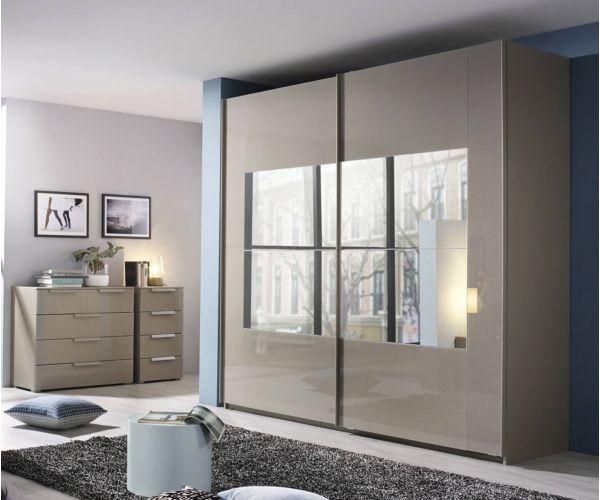 Rauch Miramar Silk Grey Carcase with Silk Grey Glass 2 Sliding Middle Mirror Door Wardrobe(W271cm)