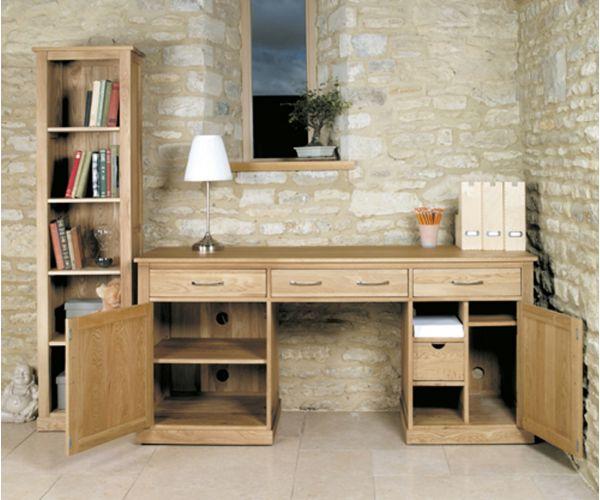 Baumhaus Mobel Oak Large Hidden Office Twin Pedestal Computer Desk