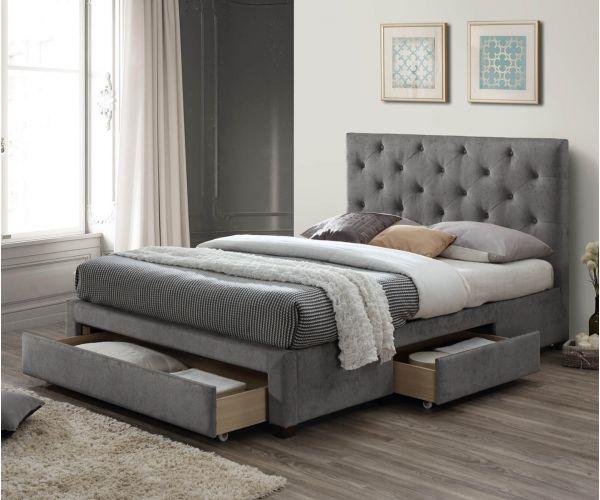 Limelight Monet Grey Velvet Fabric 3 Drawer Bed Frame