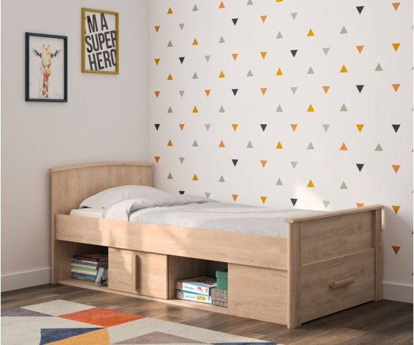 Gami Montana Blond Oak Low Compact Bed Frame