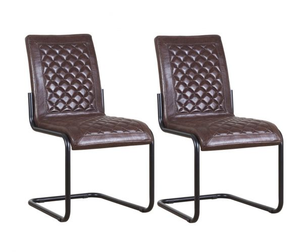 Mark Webster Montana Faux Leather Quilted Back Dining Chair in Pair