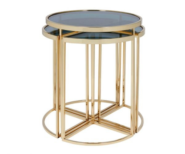 Serene Furnishings Morena Black Glass and Brass Nest of 5 Tables