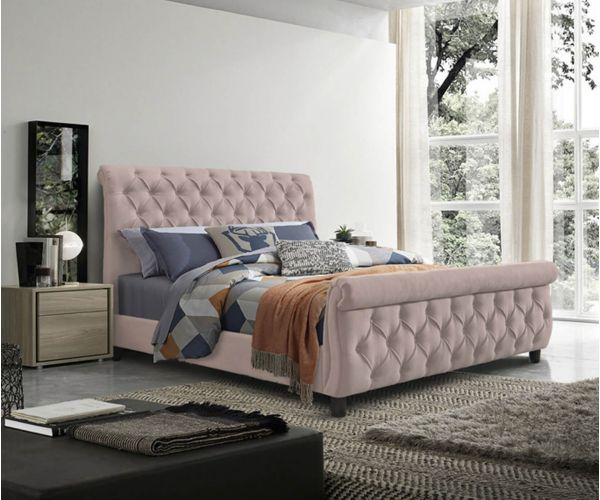 Furniture Line Morgan Pink Fabric Bed Frame