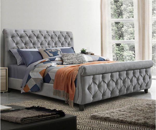 Furniture Line Morgan Grey Fabric Bed Frame