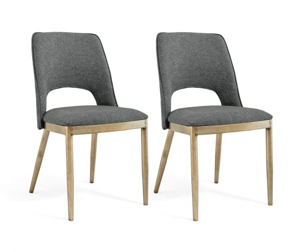 Derrys Furniture Morgan Grey Linen with Brass Dining Chair in Pair